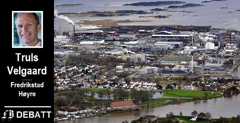 Øra industriområde sett fra en uvant vinkel. Tårnet på Isegran og Grunnmurede i forgrunnen, Frevar til venstre bak i bildet og havna til høyre. Men pilotprosjektet for pyrolyse er det ikke plass til.