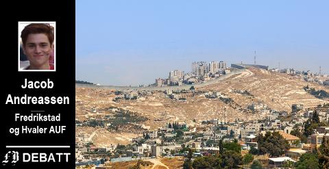 Deler av muren på Vestbredden med en palestinsk by på andre siden. Brevforfatteren kaller det verdens største fengsel.