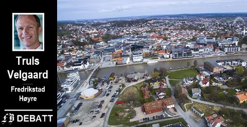 – Ikke bare skal all vekst i «gamle» Fredrikstad kommune skje så konsentrert som mulig i bysentrum. I tillegg skal mest mulig av vekst i de gamle omegnskommunene også skje i bysentrum, er Velgaards beskrivelse av dagens fortettingspolitikk. Bilde av Fredrikstad sentrum med Kråkerøy i forgrunnen fra mai 2016.