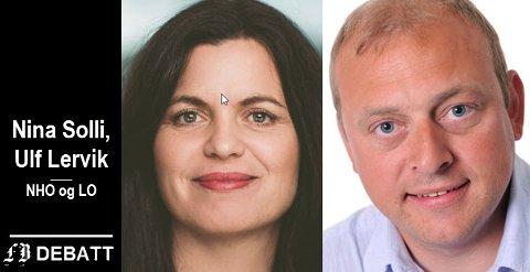 Nina Solli, regiondirektør i NHO Viken Oslo, og Ulf Lervik, regionleder for LO i Viken og Oslo