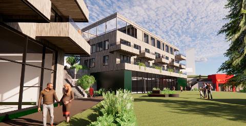 UNDER PLANLEGGING: Slik kan Bjerkvik Park bli seende ut, ifølge planforslaget for 24 leiligheter i Bjerkvik sentrum som ble levert kommunen i november i fjor.