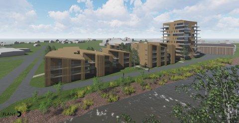 Slik tenker Bergene Holm Eiendom AS seg leilighetsprosjektet, med høyblokka, i Ringebu. 100 leiligheter er med i første byggetrinn.