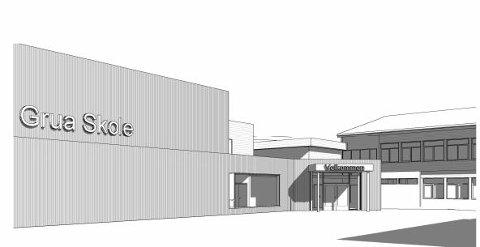 NY FASADE: Slik er det planlagt at inngangspartiet på Grua skole vil se ut etter bygging av ny gymsal.