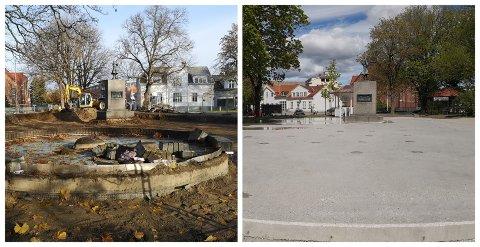 HALDENS GRØNNE LUNGE: Busterudparken har fått et nytt utseende. Nå er alt snart ferdig, og til vinteren blir det skøytebane.