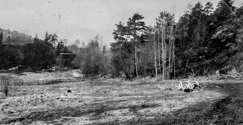 Søndre Kalstad like etter krigen: Dette er jordene til Søndre Kalstad gård en vårdag før dyrene ble sluppet ut på beite. Fotografen står med ryggen mot Tjenna og viser området hvor terrassehusene er i dag. I bakgrunnen ligger kirkegården. Ser man mellom trærne midt i bildet, virker det som om det er et tårn man kan skimte bak trærne. Hva kan dette være?
