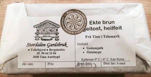 """Ble sensurert: Beskrivelsen """"Ekte brun geitost, helfeit"""" gikk ikke gjennom Facebooks sensur i juni. Fredag kveld fikk osten sølv under Oste-VM."""