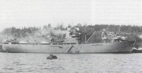 Minenräumschiff 25 (MRS 25) under ferdigrigging ved Moss Værft & Dokk.