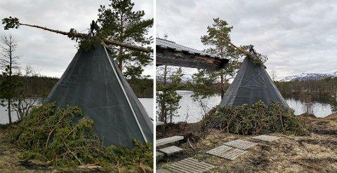 SJOKKERT: Gunnheid Berg er en av ildsjelene som holder turplassen i Finnfjordmarka i orden. Hun er sjokkert over hærverket som er gjort ved det populære turmålet.