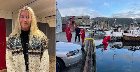 HOPP I HAVET: Her er en av aktivitetene Veslemøy (23) fikk prøve seg på da hun møtte opp for å få mer informasjon om Redningsselskapet.