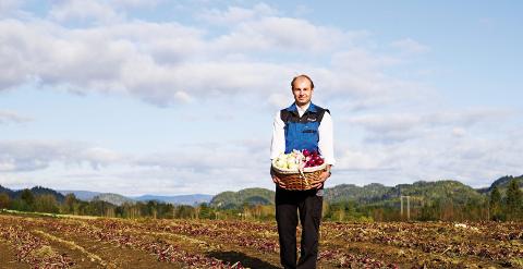 HOLM GÅRD: Olaf Holm produserer vel 1000 tonn edel-løk i året.