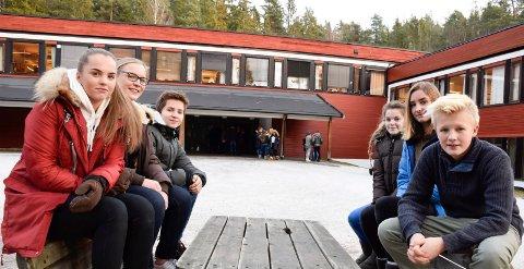 FÅR BESØK: Elevrådet ved Hov ungdomsskole får igjen besøk fra fylkesmannen. Fra venstre leder Kaia Kauserud, Mathea Holm, Simon Kvalheim, Tuva Palmkvist, Vilde Elizabeth Junge og Alexander Nyhagen.