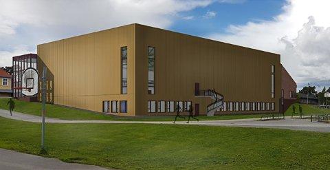 Idrettshall: Slik er idrettshallen tenkt. Skisse fra SG arkitektur.