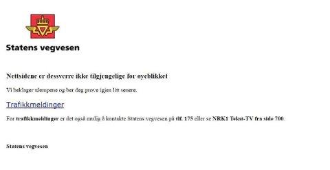 NETTSIDENE NEDE: Mange slet med å få tilgang til nettsidene til Statens Vegvesen torsdag formiddag. Foto: Skjermdump