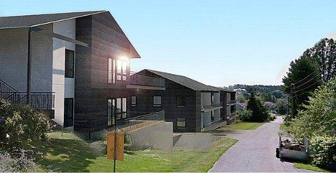FRA NORD: Boligprosjektet på Vindal nordfra ved Vindalveien 13. (Illustrasjon: Spir Arkitekter)
