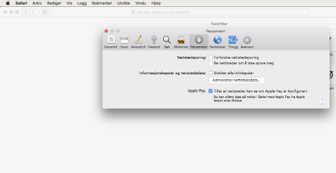 Klikk på Safari-menyen øverst til venstre og gå inn i «Valg». Under personvern kan du huke vekk «forhindre nettlesersporing».