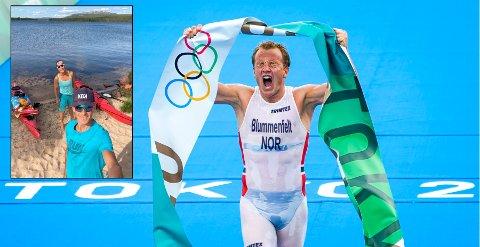 Ellen Jendal og Erik Jordahl er på teltur ved Isteren. De fikk derfor ikke sett at Kristian Blummenfelt løp inn til OL-gull i triatlon natt til mandag.