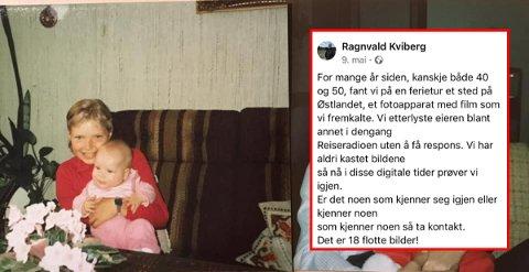 Facebook-dugnad: Ragnvalds innlegget ble delt av over 6.000 personer. Nå er de 39 år gamle bildene på vei til Lill-Hege Nordrum fra Saltnes.