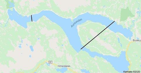 AURSUNDEN: Når slipper isen i år tror du? Konkurransen gjelder når isen er borte innenfor de markerte linjene på kartet her.