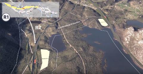 BLIR JUSTERT: Sydarmen av Årrestadkrysset i retning mot Sirdal ligger i området som er mest interessant for mineralforekomster. I det området er veilinje, sidevei og annet juster i forhold til denne skissen.