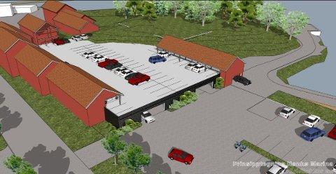 Slik ser forslagsstillerne for seg at det ermulig å utforme parkeringshuset. Ifølge dem er ideen er å «kle inn» p-huset med bygninger med et tradisjonelt arkitektonisk uttrykk. Illustrasjon: Bjar Arkitekter AS