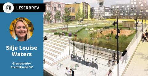 Ved tørrdokka på FMV ser Jotne for seg en stor park på taket av et parkeringshus. SV vil ha grønne tak på kommunale bygg i tillegg til solcelletakene som allerede er vedtatt i planen for å kutte klimautslipp.  Illustrasjon: Alt. Arkitektur