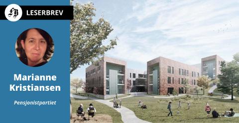 Når Onsøyheimen åpner med 120 plasser våren 2023, blir samme antall plasser stengt for rehabilitering.  – Det går mot triste tider i eldreomsorgen, mener Marianne Kristiansen.  Illustrasjon: ASAS Arkitektur