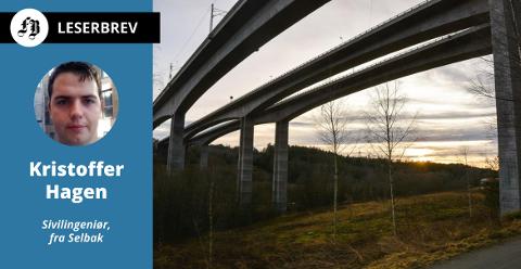 Kristoffer  Hagen skriver at jernbanebrua  i Hølendalen (den til venstre) som var topp moderne i 1996, må erstattes av en ny bru for at det økte kravet til aksellast som planlegges på dobbeltsporet mellom Haug i Råde og Seut skal gi mening.