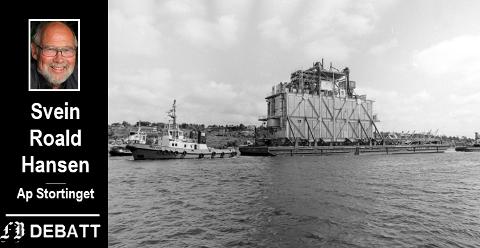 1984: Den siste modulen fra Nye FMV slepes ut Vesterelven på vei til Heimdalfeltet i Nordsjøen.  – Vi må unngå at leverandørindustrien må igjennom det samme som skipsverftene ved Glommas munning på 70- og 80-tallet, mener han.