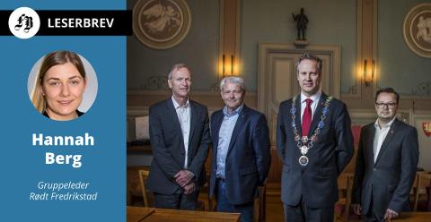 Topper i Fredrikstad-politikken. Hannah Berg mener de, i likhet med sine kolleger, har for godt betalt. Fra venstre: Truls Velgaard, Bjørnar Laabak, Jon-Ivar Nygård og Atle Ottesen.