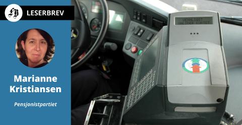 Marianne Kristiansen anbefaler betalingsautomat i bussene. Her en type som er montert ved sjåføren.