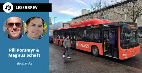 Pål Porsmyr og Magnus Schaft har studert hvordan bruken av de enkelt bussrutene i Fredrikstad harmonerer med tilbudet. Se ruteoversikt og tabeller nede i teksten.