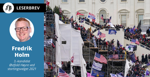 Fredrik Holm skrev innlegget mens demonstrantene tok seg inni Kongressen i Washington onsdag kveld.