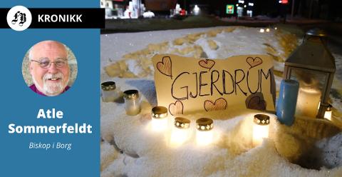 Lys og hjerter for savnede etter raset.  – Lokal, regional og nasjonal politisk ledelse og statsoverhode var aktivt til stede og gjorde Gjerdrum-samfunnets krise til sin egen, skriver biskopen.