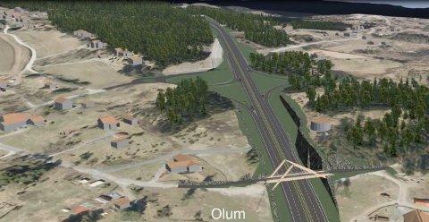 Ny E16 ved Olum: Utbyggingen av E16 Eggemoen-Olum er et av de første prosjektene i vegvesenet hvor det stilles krav om klimagassbudsjett og klimagassregnskap.