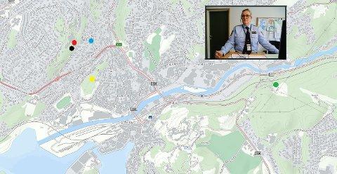 HØYE SMELL i SENTRUM: Flere ganger de siste årene har man med ujevne mellomrom hørt høye smell i Halden sentrum. SVART MARKØR: Et høyt smell fra Stangeberget natt til fredag 17. april 2020. RØD MARKØR: Fra Stangeberget smalt det natt til 13. mai 2017. Politiet fant en utskytningsrampe. BLÅ MARKØR: I området Forstrøms vei smalt det natt til 8. februar 2020. Politiet tror det var fyrverkeri eller kinaputter. GUL MARKØR: Natt til 4. desember 2017 fikk politiet meldinger om et høyt smell i området ved Rødsberget. GRØNN MARKØR: Ved transformatoren i Bondebakken smalt det natt til 27. juni 2017. Mange haldensere ble vekket av et høyt smell natt til 6. august 2017. Politiet vet ikke hvor smellet kom fra. Det samme skjedde natt til 14. januar 2020. Politiet har henlagt saken og mener det var fyrverkeri. Smellet ble hørt helt opp til Sommerro. Natt til langfredag 10. april 2020 smalt det fra det man tror var festningen. Krimsjef Mona Bergseth har intensivert etterforskningen.
