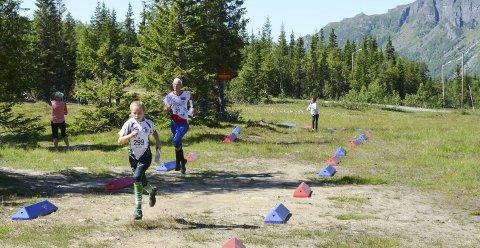 Spurt mot mål: Noen av de over 350 deltakerne på veg inn mot målområdet på Korlevoll. Eivind Tokheim (innfelt), leder av Odda Orienteringslag, hadde en travel helg.