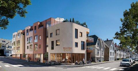 SNART KLAR: HAUBO skal rive flere bygge og legge til rette for café, teater og 17 leiligheter ved Byparken. Illustrasjon: Arqsix