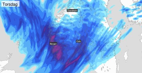 Slik ser prognosene for torsdag ut. Mye regn i vente over hele Sør-Norge.
