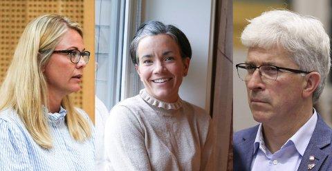 Inhabilitet: Silje Kjellesvik Norheim (t.v.) og Gunn Cecilie Ringdal har vært inhabile i den politiske behandlingen som følge av at ektemennenes jobber. Morten Egeberg (t.h) er både folkevalgt og beredskapsleder i Lier kommune.