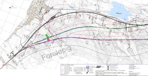 TRE AKTUELLE LINJER: Linjene i henholdsvis svart, grønt og rosa utredes av Bane NOR for framtidig jernbanespor fra Haug og videre sørover gjennom Råde. FORELØPIG KARTSKISSE: Bane NOR.