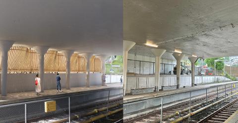 Det første bildet viser hvordan sykkelhotellet er skissert, og det andre bildet viser bygningsarbeidet på Ryen i slutten av juli 2021.