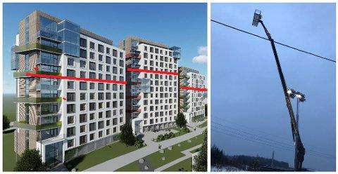 ILLUSTRASJON: Utbyggeren Jon Harald Jensen og Studentboliger Gjøvik Campus AS har her tegnet en rød strek som markerer høyden politikerne nå har bestemt skal være maks tillatte byggehøyde. Liften ble satt opp for å vise hvilken høyde utbygger ønsker.
