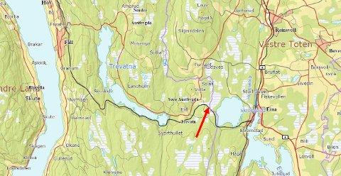TØMMERTERMINAL: Den planlagte tømmerterminalen ligger i Vestre Toten med atkomstvei fra Søndre Land.