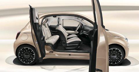 OUTSIDER: Nye elektriske Fiat 500, her i versjonen med én ekstra sidedør.FOTO: FIAT