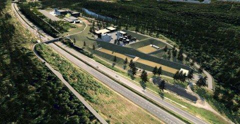 FRA NORD-ØST: I front er utrykningsveien, og illustrasjonen viser hvordan støyvollene ved skytebanene er tenkt.