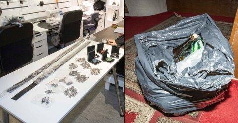 Til venstre ser du noe av bunadssølvet som ble stjålet fra Lises systue. Til høyre: alkohol fra Bombay Masala.