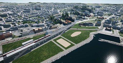 SLIK? Det er omtrent slik Bane NOR tenker seg en ny, høy stasjonsløsning i Indre havn i larvik. Nå er det politikerne i Larvik som har utspillet.