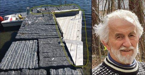 VIL HA  DETTE FJERNET: Larvik kommune krever at Petter Yran fjerner bryggeutvidelsen som de blant annet mener påvirker strømforholdene.