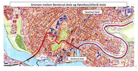 SKOLEGRENSEN: Dette er grensen mellom Hønefoss nord og Hønefoss syd.