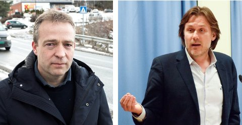 KALT INN PÅ TEPPET: Ordfører Morten Lafton (til venstre) erkjenner at formannskapet har hatt flere møter som ikke har vært etter boka. Til høyre leder i kontrollutvalget, Hans G. Borch.